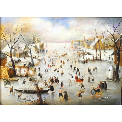 273 - A 17th century style oil on canvas, Dutch or Flemish winter landscape with townsfolk crossing a froz...