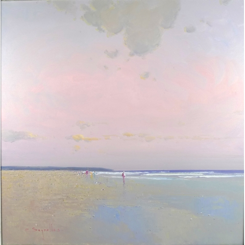 281 - Jorge Segrelles (Spanish, b. 1953): beach scene with figures at dusk, signed, oil on canvas, 79 by 7...