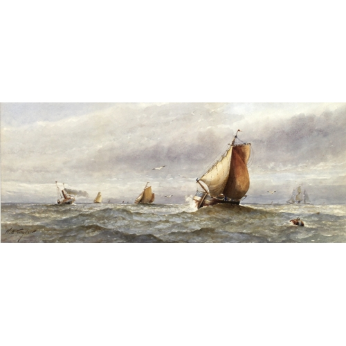 248 - Charles H. Lewis (British, 19th century): a view of boats near docks, signed and dated 1848, waterco...