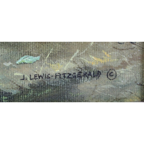 284 - John Lewis Fitzgerald (British, 20th century): 'Waiting', a study of a bay cob, with white flash and...