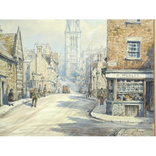 256 - Wilfrid Rene Wood (British, 1888-1976): a view of Stamford, depicting St Mary's Hill, St Mary's chur...