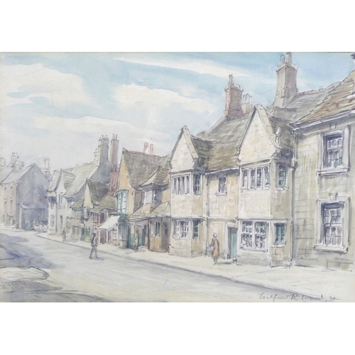 253 - Wilfrid Rene Wood (British, 1888-1976): a view of Stamford, depicting St Paul's Street, signed and d...