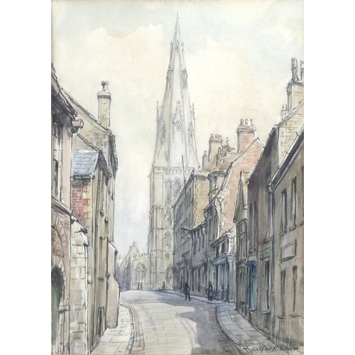 254 - Wilfrid Rene Wood (British, 1888-1976): a view of Stamford, depicting a view on St Mary's Hill looki...