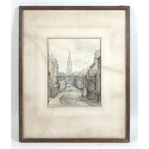 255 - Wilfrid Rene Wood (British, 1888-1976): a view of Stamford, depicting a view of The George Hotel sig...