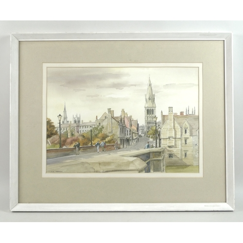 245 - Gladys Rees Teesdale (British, 1898-1985): a view of Stamford, depicting a view of the town bridge w...