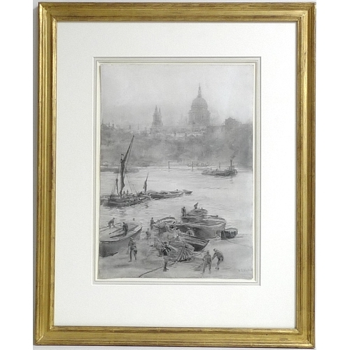 258 - William Lionel Wyllie RA, RE, RI (British, 1851-1931): a view across the Thames, with several boats,...