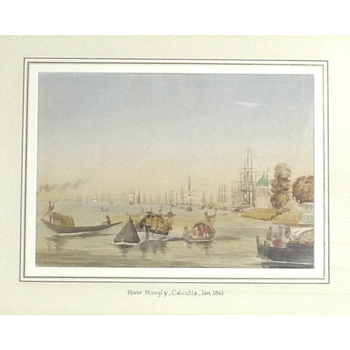 223 - After William and Thomas Daniell: a pair of modern prints, 'View of Mutura, on the River Jumna, plat...