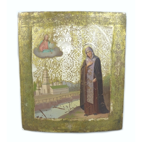 242 - A late 19th century Russian Icon, depicting St Anna, wood, tempera, gesso and gold leaf, 36 by 31cm....