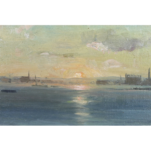 300 - Edward Seago RBA ARWS RWS (British, 1910–1974): 'Sunset - Poole Harbour', unsigned, oil on artist's ...