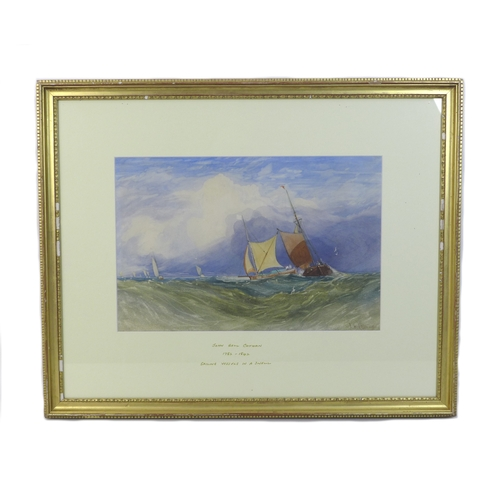 272 - John Sell Cotman (British, 1782-1842): 'Sailing Vessels in a Swell', watercolour, signed lower right...
