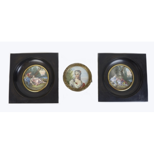 276 - Three hand painted miniatures, comprising a portrait of a lady with a flower in her hair, 6cm diamet...