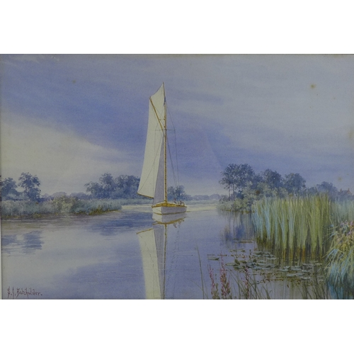 268 - Stephen John Batchelder (British, 1849-1932): 'Hickling Broad', with a sailing boat gliding along th...