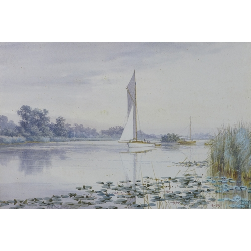266 - Stephen John Batchelder (British, 1849-1932): Norfolk Broads, a view along a river with two sailing ...