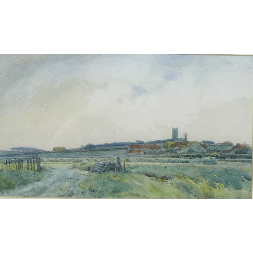 269 - Frederick George Cotman (British, 1850-1920): 'Blakeney Church from Cley', signed and dated 1885 low...