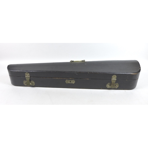 124 - Two 19th century wooden violin coffin cases, and three violin bows, one stamped 'Voisin', the walnut...