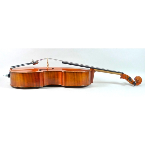 125 - A 1/2 size cello, circa 1970's, with paper label 'Made in Hungary' to inside, bridge marked 'Randle'...