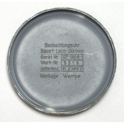 169 - A German WWII Luftwaffe Type B Observers Watch or Beobachtungsuhr (B-Uhr), signed Laco, 22 Steine, c...