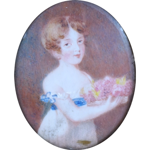 278 - British School (circa 1820): a miniature portrait, 'Hon.ble Lady Neave, aged 7 years...', wearing a ...