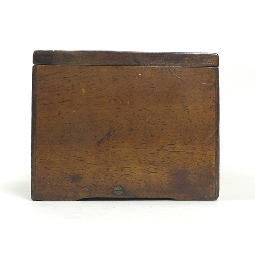 127 - A 19th century mahogany cased music box, playing four airs, possibly Nicole Freres, with three slidi...