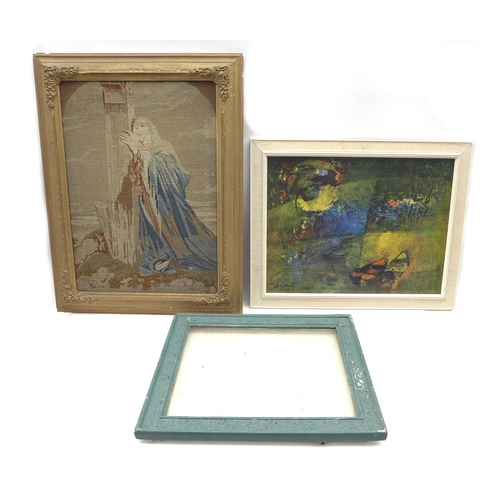 6 - A group of pictures, including a print of Picasso's 'Blue Nude' in broken frame, a print of fishing ...