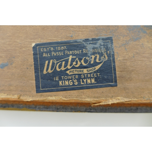 11 - Two large picture frames, one painted gold, with Watsons' picture shop label to the back, 89 by 63cm...