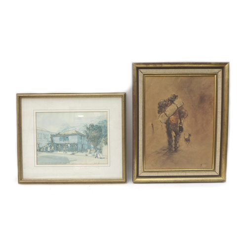 12 - Two framed prints, 'The Unique Grocery & Meat Market' dated Dec '81, 30 by 22cm, framed and glazed 4...
