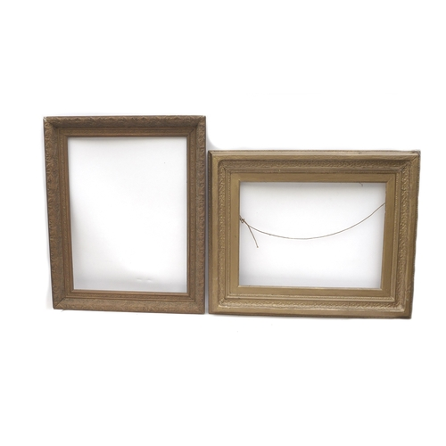 14 - Two gilt picture frames, one with oak leaf and acorn design, 56 by 69cm and 71.5 and 58cm, a/f. (2)...