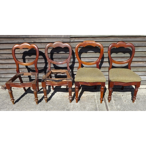 15 - A set of four late Victorian mahogany balloon back chairs, A/F. (4)...