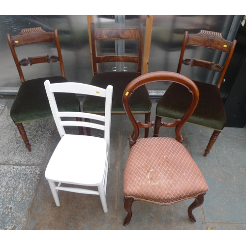 38 - A group of five dining chairs, comprising a pair of Regency dining chairs with green velvet seats, a...