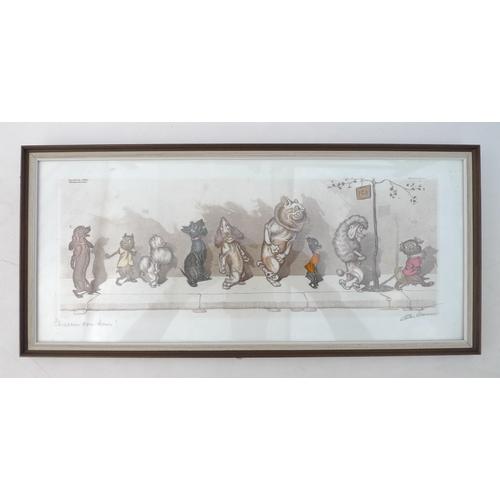 39 - After Arthur Boris O'Klein (Russian/French, 1893-1985): a humorous hand coloured engraving, 'The Dir...