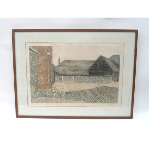 40 - After Valerie Thornton (1931-1991): 'Peper Harrow', a limited edition etching, dated 1976, signed an...