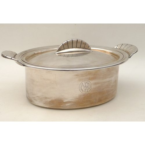 44 - An Art Deco French silver plated tureen, with hotel monogram to one side, shell form handles, marked...