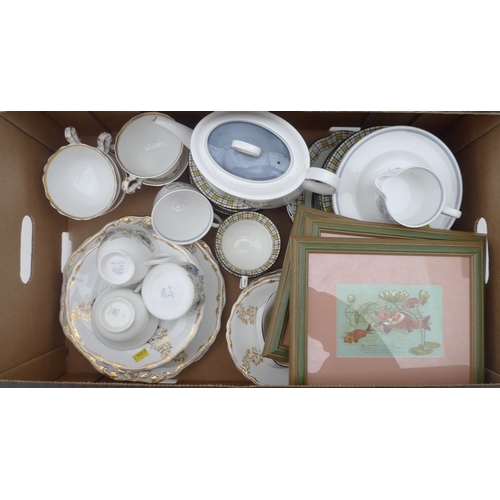 47 - Aynsley, Spode and Susie Cooper porcelain part tea services, also with three mounted framed postcard...