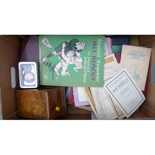 43 - A collection of mid 20th century sporting and military themed ephemera, including a 1924 Special Sou...
