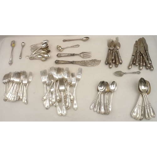 6 - A suite of Edwardian EPNS cutlery, bead pattern, with engraved terminals, comprising together with a...