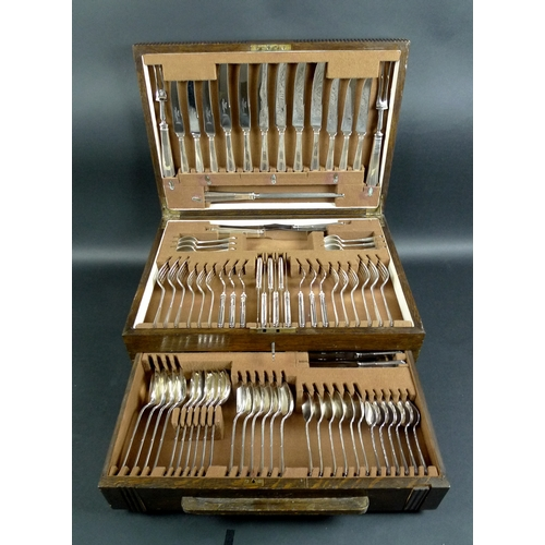 5 - An Elizabeth II canteen of silver plated flatware, James Dixon & Sons Sheffield, with Art Deco style...