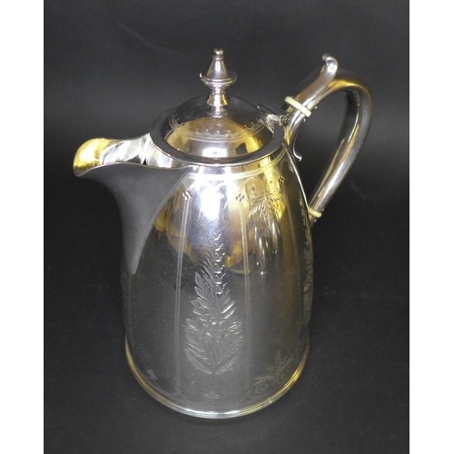 1 - A five piece Elkington Silver plated tea and coffee service, of beehive form with foliate bright cut...
