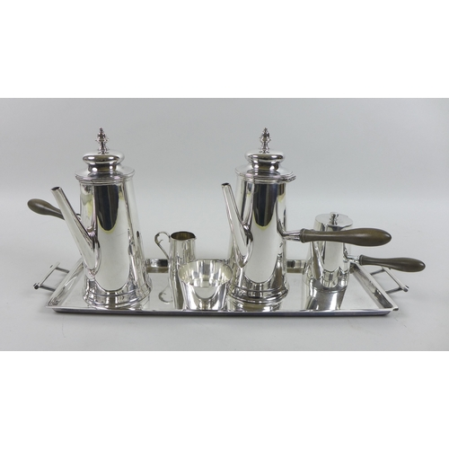4 - A mid 20th century silver plated hot chocolate set, by William Hutton & Sons, of tapering cylindrica...