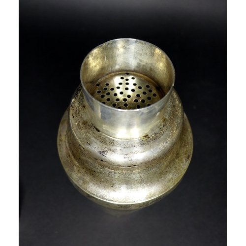37 - A Chinese white metal cocktail shaker, in three parts, marked to base '85', 'LS', and with Chinese c...