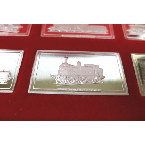 92 - A John Pinches cased set of fifty silver ingots commemorating Great British locomotives, with certif...