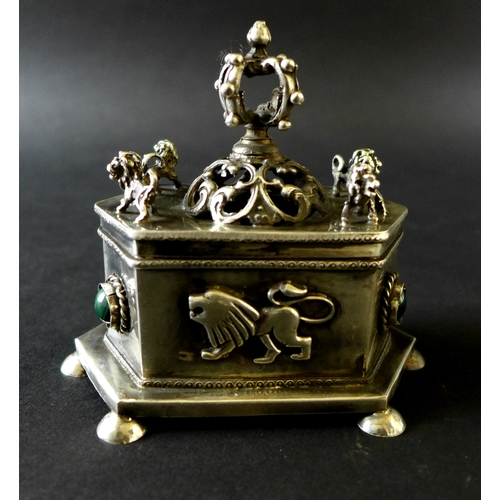 88 - Judaica: A pre-revolutionary 19th century Russian silver hexagonal box, the pierced lid decorated wi...