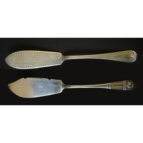 43 - A group of Georgian and later silver flatware, comprising a pair of George III ladles, both 17.1cm l...