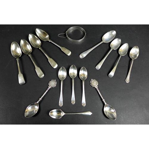 28 - A group of silver, including a Georgian teaspoon, Peter & William Bateman, London 1812, and nine lat...