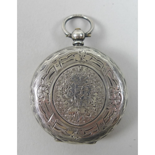 10 - A late 19th century Swiss silver key wound pocket watch with silvered Roman numeral dial decorated w...