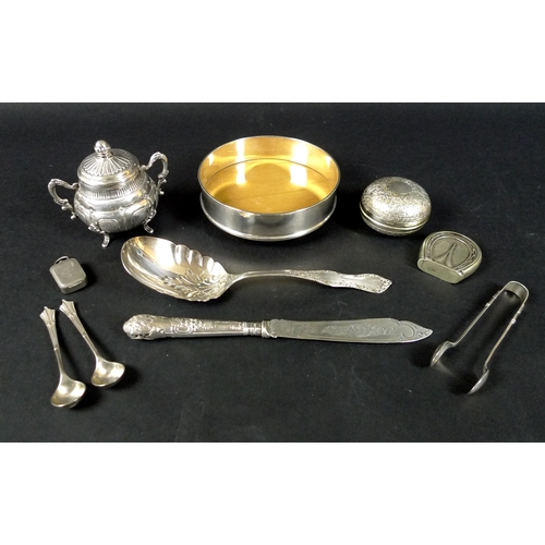 12 - A small group of silver and plated items, comprising a silver wine coaster, RC, Sheffield 2000, 4 by...