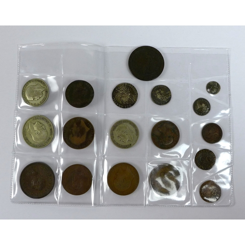 103 - A group of eighteen late 18th century and later coins and tokens, including a 1787 George III silver...