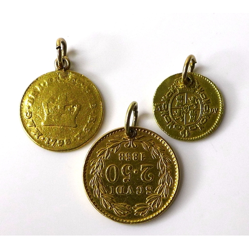 104 - A group of three gold coins, comprising a Papal States Pius IX 2.5 Scudi, 1858, 4.45g, a George III ...