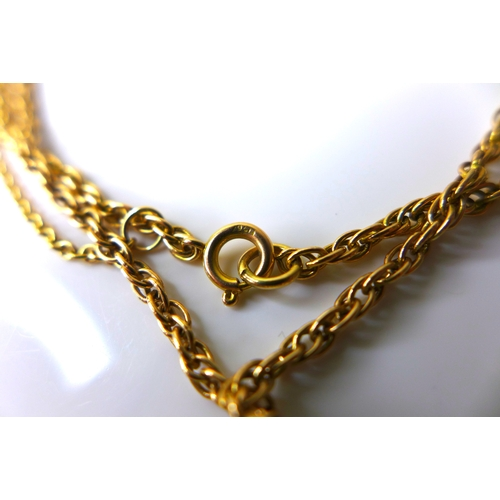 111 - A Victorian gold sovereign, 1894, in 9ct gold mount with 9ct gold chain necklace, 56cm long, 19.2g t...