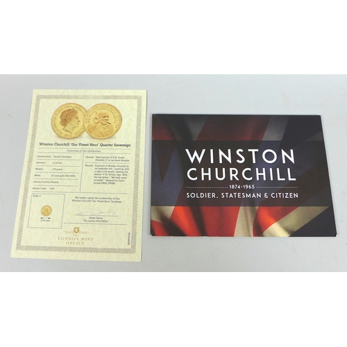 106 - A 2015 London Mint Office Winston Churchill gold quarter sovereign, with certificate presentation bo...