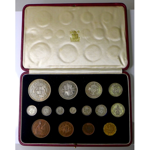 105 - A George VI Specimen Coins 1937 set, comprising fifteen proof coins, crown to farthing including mau...